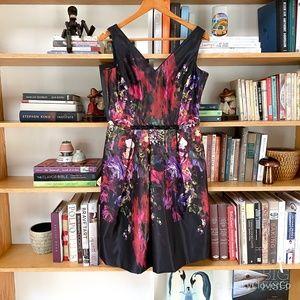 Teri Jon   Dark Floral Sleeveless dress